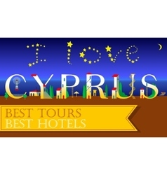 I love cyprus inscription holiday houses font vector