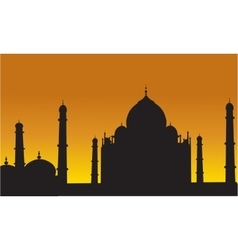 Taj mahal of silhouette vector