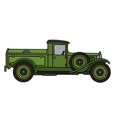 Vintage green dustcart vector