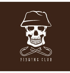 Fishing club grunge emblem with skull in panama vector