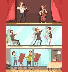 Art professions banners set vector