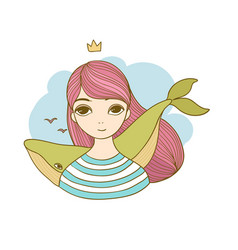 Beautiful young girl with a whale vector