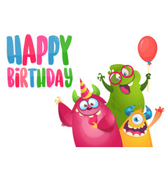 birthday card with cute funny monsters vector image