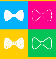 bow tie icon four styles of icon on four color vector image vector image
