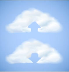 Cloud computing icon with arrow vector image