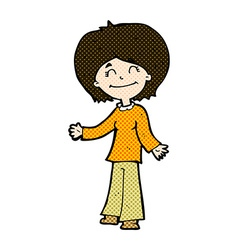 Comic cartoon happy woman vector