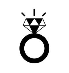Contour beauty wedding ring with diamond design vector