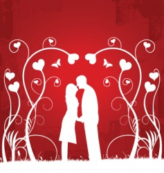 couple kissing | red 2 vector image