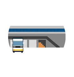 Delivery icon with freight truck near storage vector