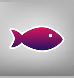 Fish sign purple gradient vector