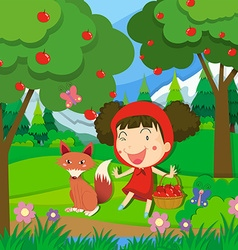 Little girl in red dress and a wolf vector