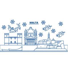 Malta winter city skyline merry christmas happy vector