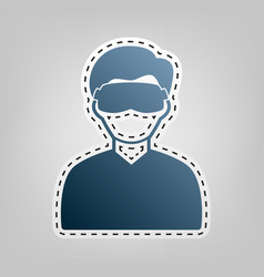 Man with sleeping mask sign blue icon vector