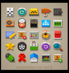 multimedia icon set-8 vector image vector image
