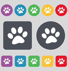 Paw icon sign a set of 12 colored buttons flat vector