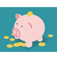 Piggy bank and golden coins vector