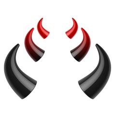 Red and black devil horns vector