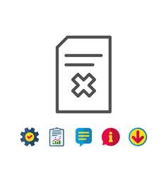 Remove document line icon delete file sign vector