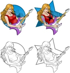 Rock star guitarist girl on background vector image