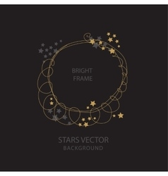 Round frame with golden stars vector image