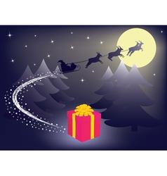 Santa leaving gift vector