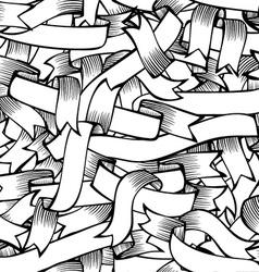 Seamless pattern of hand-drawn ribbons vector image