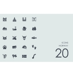 Set of Norway icons vector image