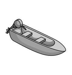 small metal boat with motor for fishingboat for vector image