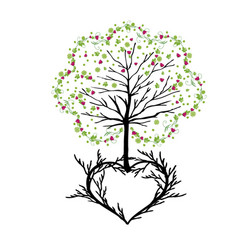 tree with florishes and heart vector image