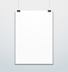 Vertical poster suspended on office clips mockup vector