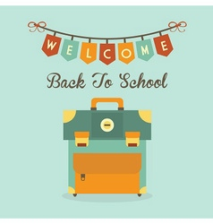 Welcome back to school banner and school bag icon vector