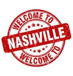 Welcome to nashville red round vintage stamp vector