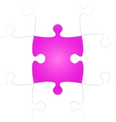 White puzzle pieces with one pink missing vector