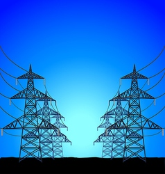 High-voltage power towers background vector