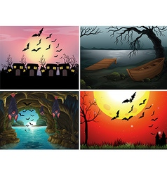Four scenes with bats at night vector image