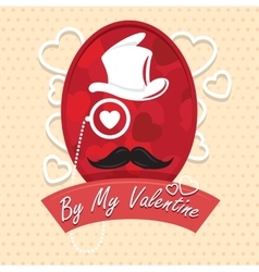 Greeting card by my valentine happy day vector