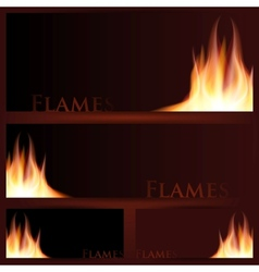 Fire frames on black background vector