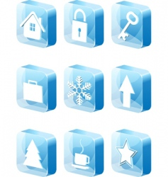 3d blue icons set vector image