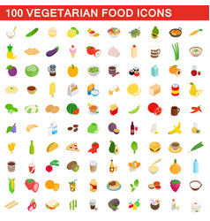 100 vegetarian food icons set isometric 3d style vector