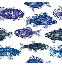 Freshwater fish endless pattern nature and vector