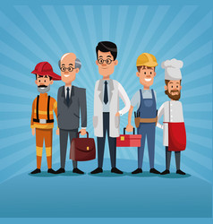 Men group differents occupation workers labor day vector