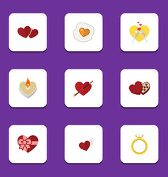 Flat icon passion set of shaped box celebration vector