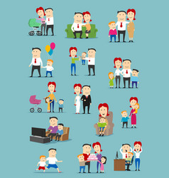 Family people with baby and kid cartoon set vector