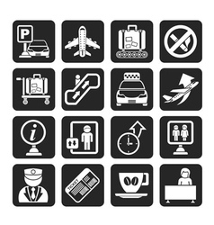 Silhouette airport and transportation icons vector