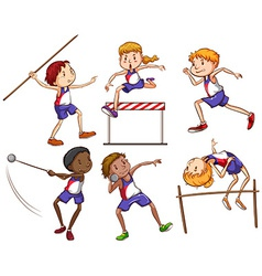 Kids engaging in different outdoor sports vector