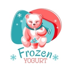 Bear eating frozen yogurt vector