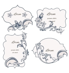 Set floral ornament frame and labels vector