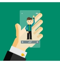 Human hand holding transparent screen smartphone vector