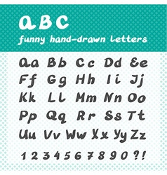 Hand drawn abc - funny alphabet letters vector
