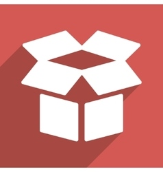 Open Box Flat Long Shadow Square Icon vector image